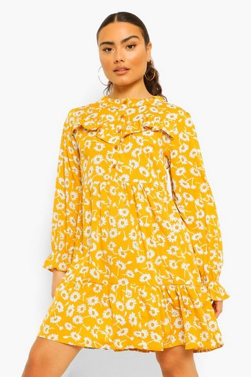 Mustard yellow Floral Ruffle Front Balloon Sleeve Skater