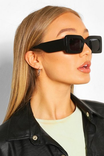 Black Chunky Rectangle Sunglasses