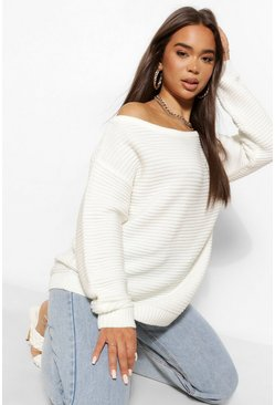 Ivory white Ripple Stitch Slash Neck Jumper
