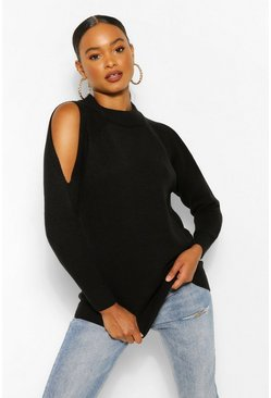Black Cold Shoulder High Neck Jumper