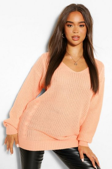 Apricot nude Nude Oversized Cable Knitted Jumper