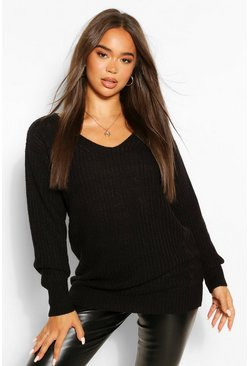 Black Oversized Cable Knit Jumper