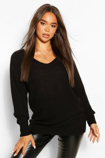 Black Oversized Cable Knitted Jumper