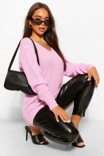 Black purple Purple Oversized Cable Knit Jumper