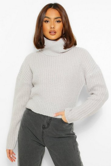 Silver grey grey Cropped Roll Neck Jumper