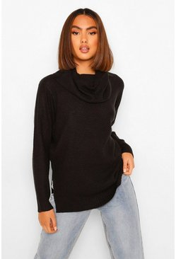 Black Cowl Neck Light Weight Jumper