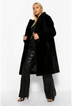 Black Teddy Faux Fur Trim Plush Coat