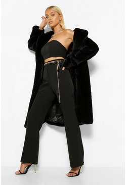 Black Plush Faux Fur Belted Robe Coat