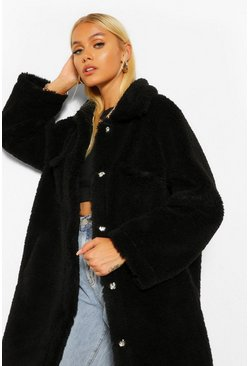 Black Longline Faux Shearling Shacket