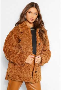 Toffee beige Faux Shearling Button Through Shacket