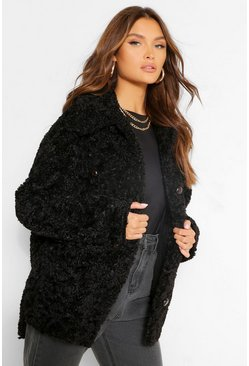 Black Faux Shearling Button Through Shacket