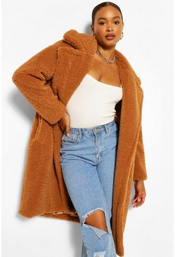 Toffee beige Oversized Teddy Faux Fur Coat