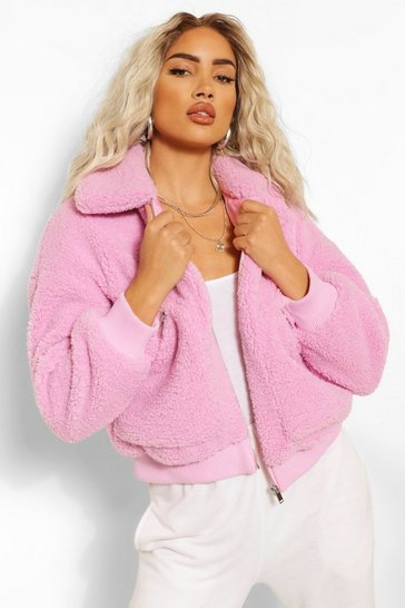 Pink Teddy Faux Fur Zip Detail Bomber