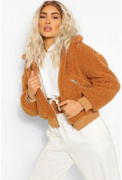Toffee beige Teddy Faux Fur Zip Detail Bomber