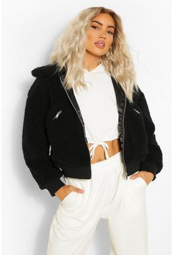 Black Teddy Faux Fur Zip Detail Bomber