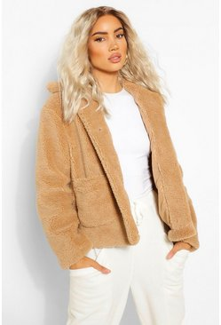 Camel beige Button Through Teddy Faux Fur Jacket