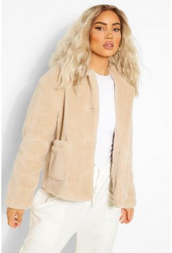 Stone beige Button Through Teddy Faux Fur Jacket