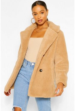 Camel beige Double Breasted Teddy Faux Fur Coat