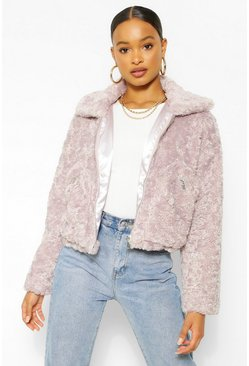 Lilac purple Soft Faux Fur Pocket Detail Jacket