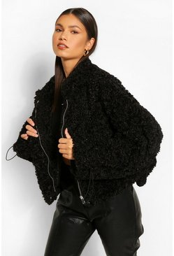 Black Oversized Crop Teddy Faux Fur Bomber