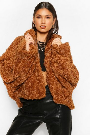 Toffee beige Oversized Crop Teddy Faux Fur Bomber