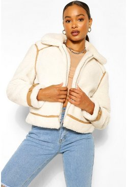 Cream white Faux Leather Trim Teddy Faux Fur Aviator