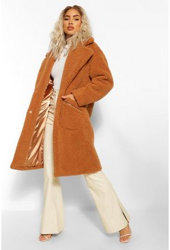 Toffee beige Pocket Detail Teddy Faux Fur Coat