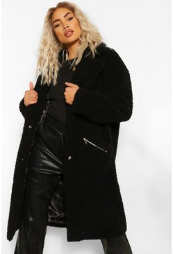 Black Pocket Detail Teddy Faux Fur Coat