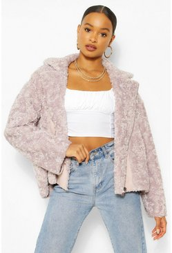 Lilac purple Oversized Faux Teddy Fur Aviator
