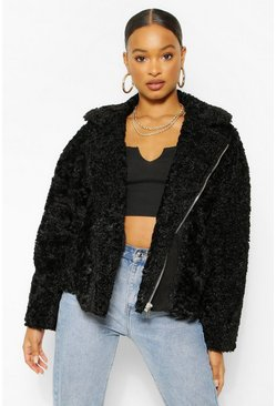 Black Oversized Faux Teddy Fur Aviator