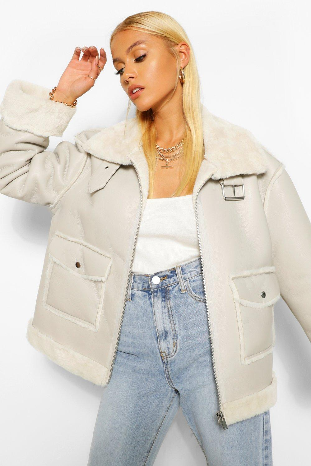 COATS & JACKETS Faux Fur Lined Faux Leather Aviator