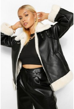 Black Faux Fur Lined Oversized Aviator