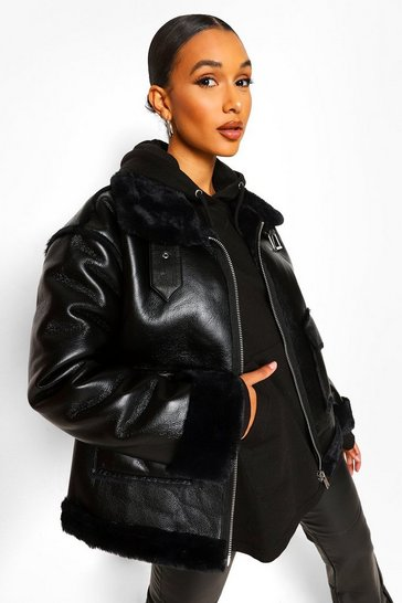 Black Faux Fur Lined Faux Leather Aviator
