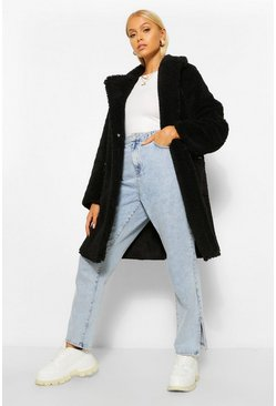 Black Faux Shearling Pocket Detail Coat