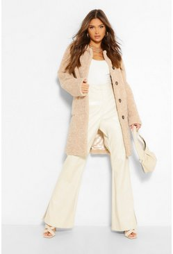 Sand Luxe Textured Teddy Button Through Coat