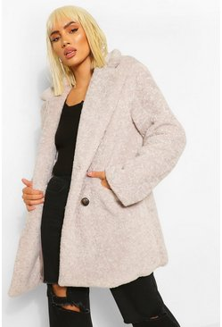 Grey Luxe Textured Teddy Coat