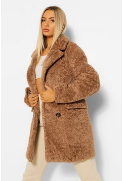 Biscuit Luxe Textured Teddy Coat