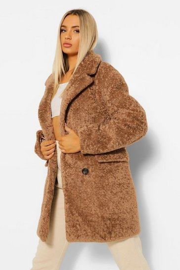 Biscuit beige Luxe Textured Teddy Coat