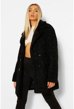 Black Luxe Textured Teddy Coat