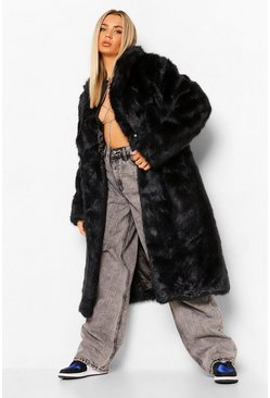 Black Longline Luxe Faux Fur Coat