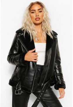 Black Oversized Zip Detail Aviator