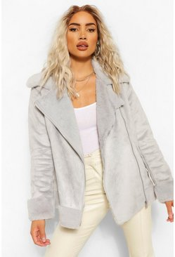 Grey Suedette Faux Fur Lined Aviator