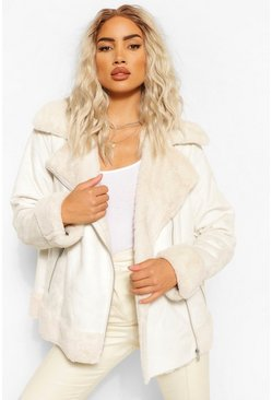 Cream Suedette Faux Fur Lined Aviator