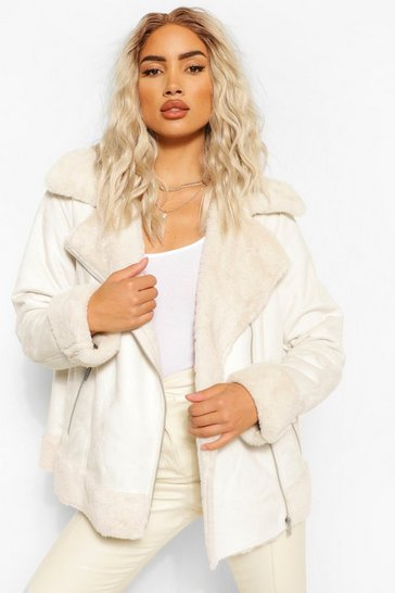 Cream white Suedette Faux Fur Lined Aviator