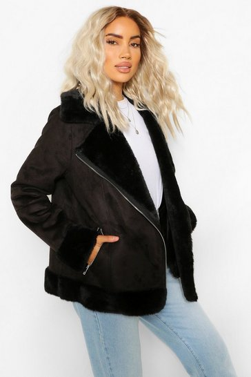 Black Suedette Faux Fur Lined Aviator