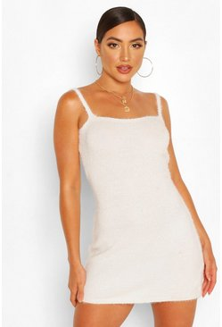 Ivory white Fluffy Knit Square Neck Mini Dress