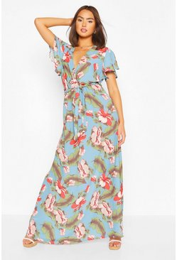 Blue Floral Palm Print Wrap Front Maxi Dress