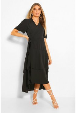 Black Wrap Belted Tiered Midaxi Dress