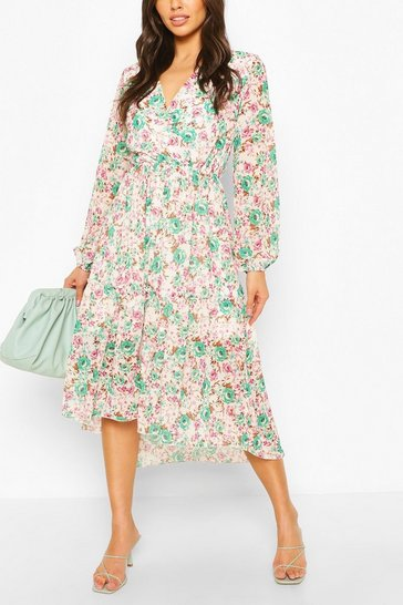 Green Wrap Front Floral Tiered Skirt Drop Hem Midi Dress