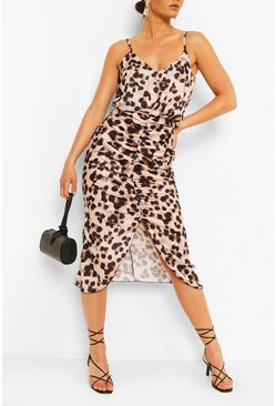 Pink Satin Leopard Rouche Midaxi Dress